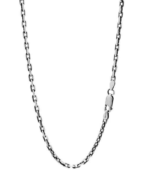 シルバー925 4面カット小豆(アズキ)チェーン 幅約3.2mm / 長さ40cm-60cm いぶし磨き仕上げ