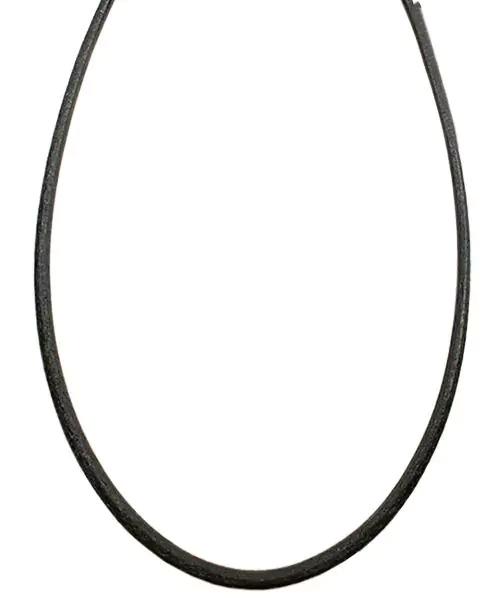 シルバー925金具 日本製 本革 牛 レザーコード 革紐 幅約3.2mm [ブラック] 40cm-80cm
