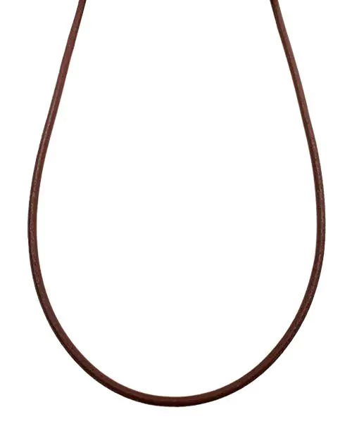 シルバー925金具 日本製 本革 牛 レザーコード 革紐 幅約2.8mm [ブラウン] 40cm-80cm