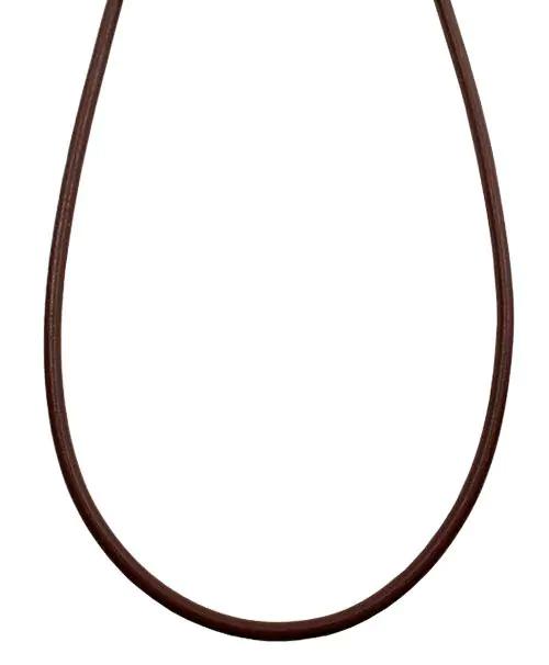 シルバー925金具 日本製 本革 牛 レザーコード 革紐 幅約3.2mm [ブラウン] 40cm-80cm