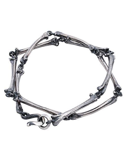 [SKURANGER / スカレンジャー] S-Br-02 Bone Bracelet Sliver 2重巻 シルバーブレスレット